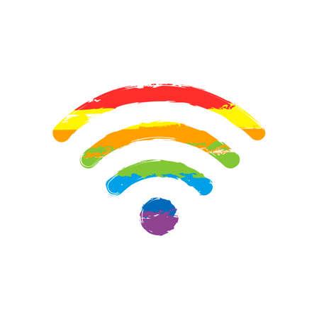 icono de wi-fi. Signo de dibujo con estilo LGBT, siete colores de arco iris rojo, naranja, amarillo, verde, azul, índigo, violeta