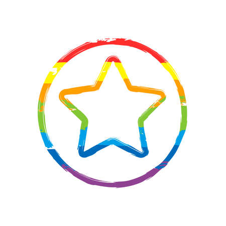 star in circle icon. Drawing sign with LGBT style, seven colors of rainbow red, orange, yellow, green, blue, indigo, violet