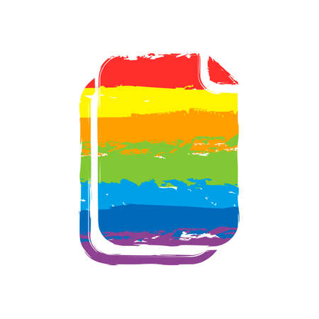 document simple icon. Drawing sign with LGBT style, seven colors of rainbow (red, orange, yellow, green, blue, indigo, violet