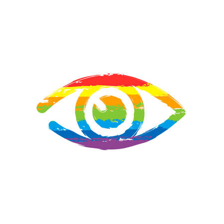 simple eye icon. Drawing sign with LGBT style, seven colors of rainbow (red, orange, yellow, green, blue, indigo, violet Illustration