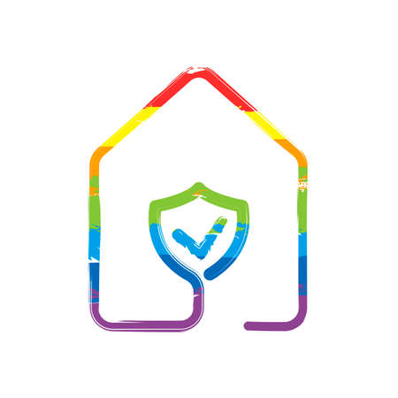 house with protect icon. line style. Drawing sign with LGBT style, seven colors of rainbow (red, orange, yellow, green, blue, indigo, violet