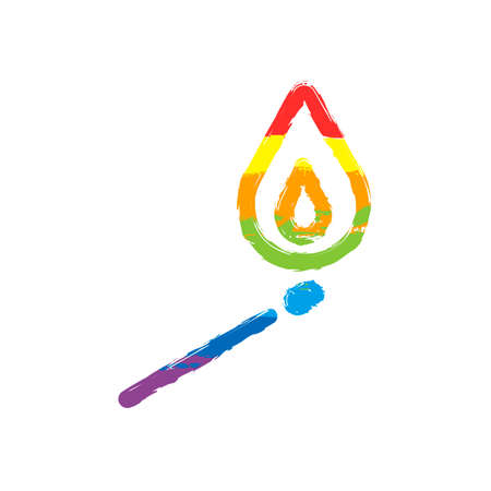 match with flame of fire. simple silhouette. Drawing sign with LGBT style, seven colors of rainbow (red, orange, yellow, green, blue, indigo, violet