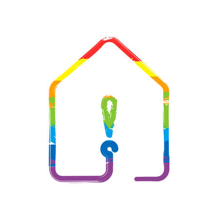 house with exclamation mark icon. line style. Drawing sign with LGBT style, seven colors of rainbow (red, orange, yellow, green, blue, indigo, violet
