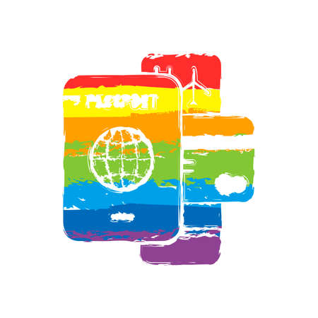 passport, ticket, credit card. air travel concept. Drawing sign with LGBT style, seven colors of rainbow (red, orange, yellow, green, blue, indigo, violet
