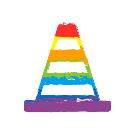 Cone Icon. Drawing sign with LGBT style, seven colors of rainbow red, orange, yellow, green, blue, indigo, violet  イラスト・ベクター素材
