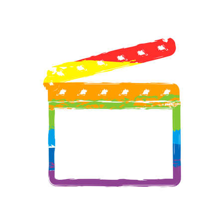 Film clap board cinema open icon. Drawing sign with LGBT style, seven colors of rainbow red, orange, yellow, green, blue, indigo, violet Vektorové ilustrace