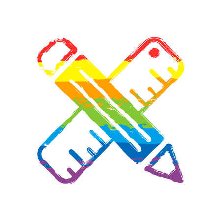 simple symbol of ruler and pencil, criss-cross. Drawing sign with LGBT style, seven colors of rainbow (red, orange, yellow, green, blue, indigo, violet