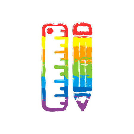 simple symbol of ruler and pencil. Drawing sign with LGBT style, seven colors of rainbow (red, orange, yellow, green, blue, indigo, violet