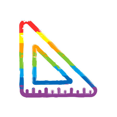 simple triangle, ruler. Drawing sign with LGBT style, seven colors of rainbow (red, orange, yellow, green, blue, indigo, violet