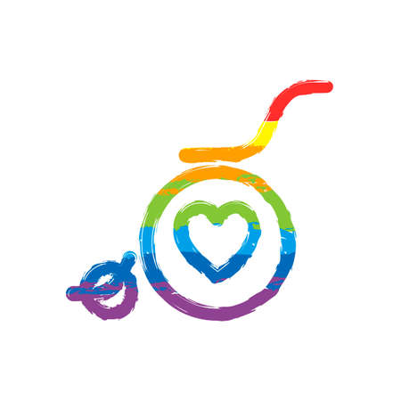wheelchair and heart, outline icon. Drawing sign with LGBT style, seven colors of rainbow (red, orange, yellow, green, blue, indigo, violet Illustration