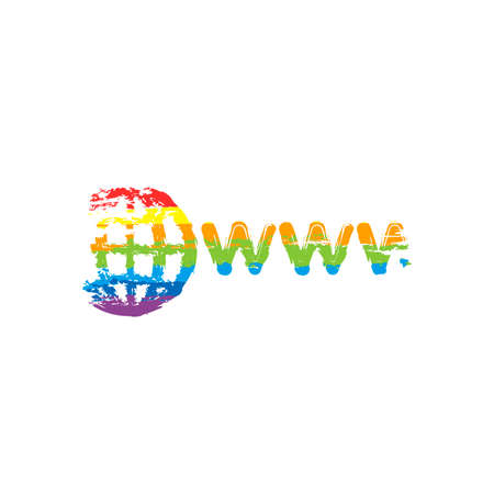 symbol of internet with globe and www. Drawing sign with LGBT style, seven colors of rainbow (red, orange, yellow, green, blue, indigo, violet Vektorové ilustrace