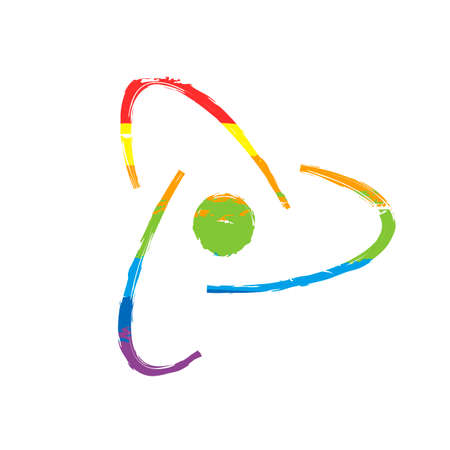 scientific atom symbol, creative logo, simple icon. Drawing sign with LGBT style, seven colors of rainbow (red, orange, yellow, green, blue, indigo, violet