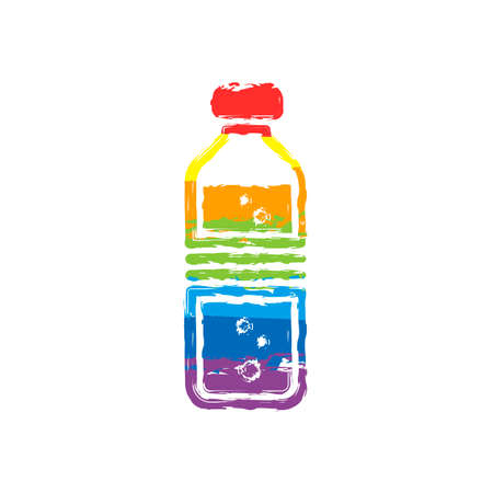bottle of water with bubbles. simple single icon. Drawing sign with LGBT style, seven colors of rainbow (red, orange, yellow, green, blue, indigo, violet