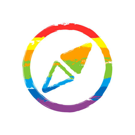 Simple compass icon. Drawing sign with LGBT style, seven colors of rainbow (red, orange, yellow, green, blue, indigo, violet