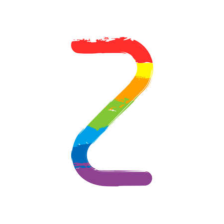 Number two, numeral, simple letter. Drawing sign with LGBT style, seven colors of rainbow (red, orange, yellow, green, blue, indigo, violet Иллюстрация