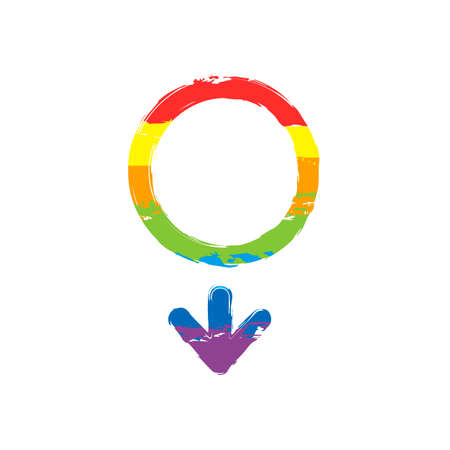 gender symbol. linear symbol. simple men icon. Drawing sign with LGBT style, seven colors of rainbow (red, orange, yellow, green, blue, indigo, violet