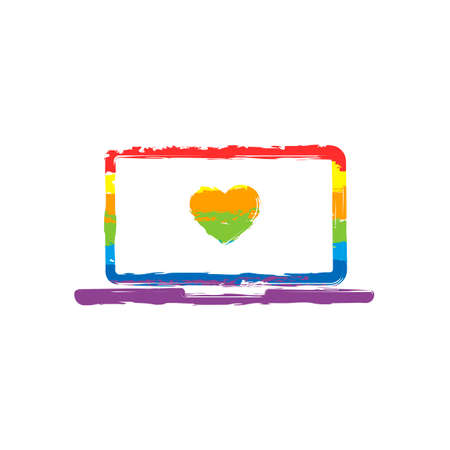 Laptop or notebook computer with heart on screen. Simple icon. Drawing sign with LGBT style, seven colors of rainbow (red, orange, yellow, green, blue, indigo, violet Vettoriali
