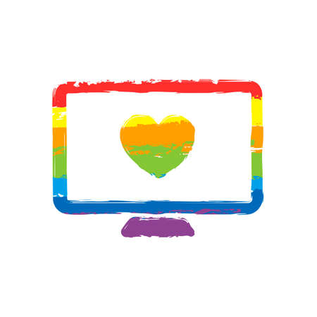computer and heard. simple icon. Drawing sign with LGBT style, seven colors of rainbow (red, orange, yellow, green, blue, indigo, violet