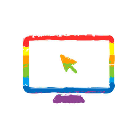 Desktop computer and mouse arrow. Simple digital icon. Drawing sign with LGBT style, seven colors of rainbow (red, orange, yellow, green, blue, indigo, violet Illustration