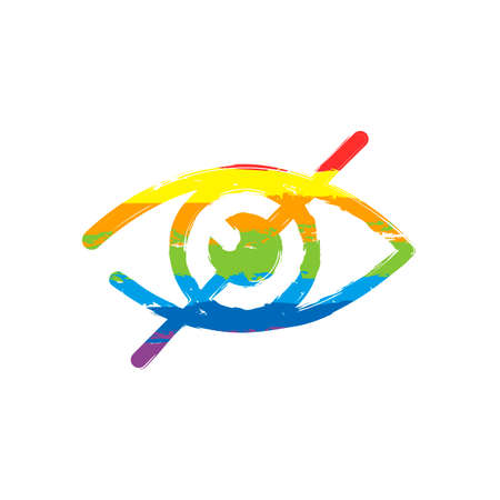 dont look, crossed out eye. simple icon. Drawing sign with LGBT style, seven colors of rainbow (red, orange, yellow, green, blue, indigo, violet