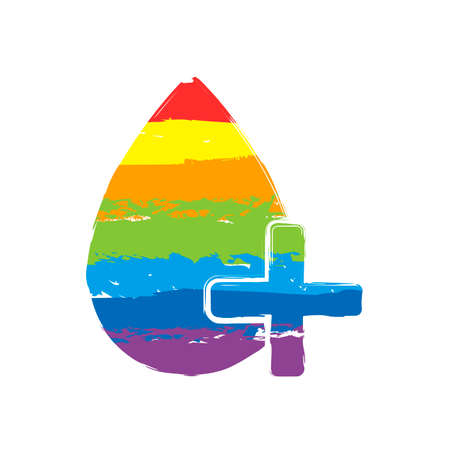 drop of blood and medical cross. simple icon. Drawing sign with LGBT style, seven colors of rainbow (red, orange, yellow, green, blue, indigo, violet 일러스트