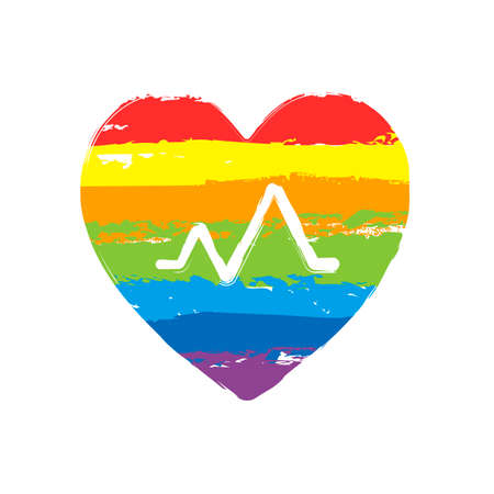 cardiac pulse. heart and pulse line. simple single icon. Drawing sign with LGBT style, seven colors of rainbow (red, orange, yellow, green, blue, indigo, violet