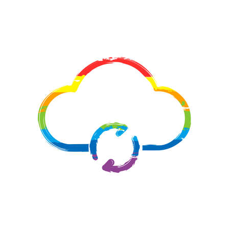 outline update simple cloud icon. linear symbol with thin outline. Drawing sign with LGBT style, seven colors of rainbow (red, orange, yellow, green, blue, indigo, violet Vectores