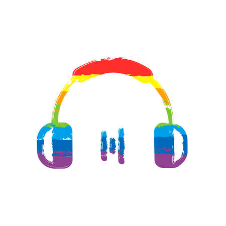 Headphones and music wave. Min volume level. Simple icon. Drawing sign with LGBT style, seven colors of rainbow (red, orange, yellow, green, blue, indigo, violet