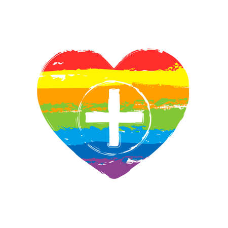 Heart and medical cross. Simple icon. Drawing sign with LGBT style, seven colors of rainbow (red, orange, yellow, green, blue, indigo, violet