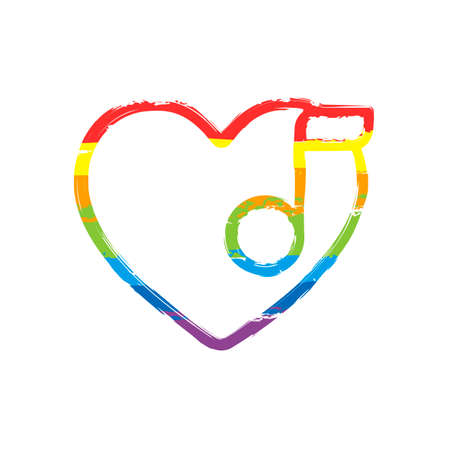 Heard and note, Favourite music. Linear icon with thin outline. Drawing sign with LGBT style, seven colors of rainbow (red, orange, yellow, green, blue, indigo, violet Vectores