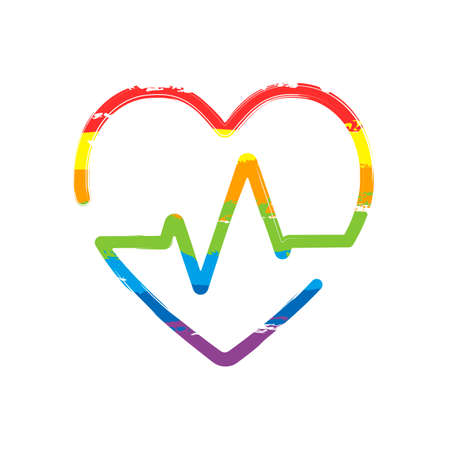 Heart and pulse line. One line style. Linear icon with thin outline. Drawing sign with LGBT style, seven colors of rainbow (red, orange, yellow, green, blue, indigo, violet