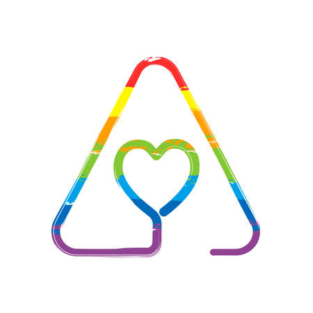 Heart in warning triangle. Linear icon with thin outline. One line style. Drawing sign with LGBT style, seven colors of rainbow (red, orange, yellow, green, blue, indigo, violet