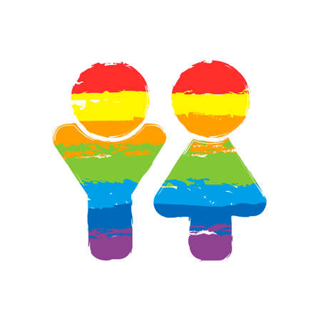 Set of male and female symbols. Simple icon. Drawing sign with LGBT style, seven colors of rainbow (red, orange, yellow, green, blue, indigo, violet
