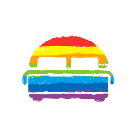 Silhouette of double bed. Double hotel room. Drawing sign with LGBT style, seven colors of rainbow (red, orange, yellow, green, blue, indigo, violet