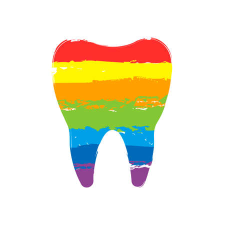 Silhouette of tooth. Simple icon. Drawing sign with LGBT style, seven colors of rainbow (red, orange, yellow, green, blue, indigo, violet