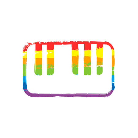 Piano keyboard icon. Drawing sign with LGBT style, seven colors of rainbow (red, orange, yellow, green, blue, indigo, violet