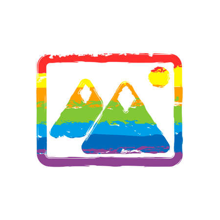 03140bd1f5b Picture with couple of mountains and sun. Simple icon. Drawing sign with LGBT  style