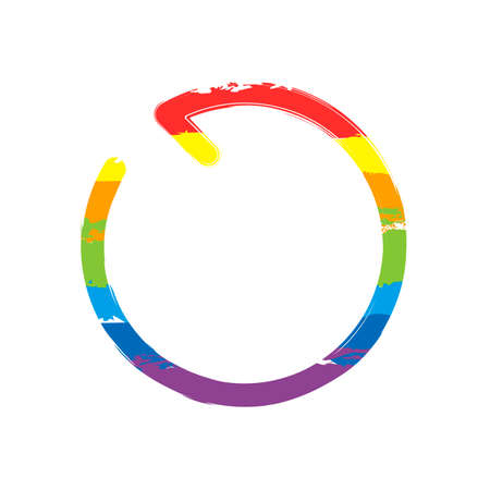 Simple arrow, update, reload, counterclockwise direction, backward. Navigation icon. Linear symbol with thin line. One line style. Drawing sign with LGBT style, seven colors of rainbow (red, orange, yellow, green, blue, indigo, violet