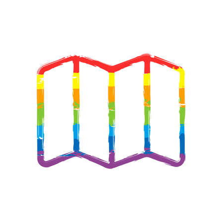 Simple map icon. Linear symbol with thin outline. Drawing sign with LGBT style, seven colors of rainbow (red, orange, yellow, green, blue, indigo, violet