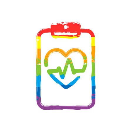 Medical clipboard. Tablet, paper, heart and pulse line. Cardiology report blank. Linear icon with thin outline. Drawing sign with LGBT style, seven colors of rainbow (red, orange, yellow, green, blue, indigo, violet