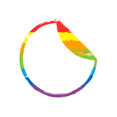 Round sticker with bent edge. Drawing sign with LGBT style, seven colors of rainbow (red, orange, yellow, green, blue, indigo, violet