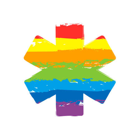 Star of life. Drawing sign with LGBT style, seven colors of rainbow (red, orange, yellow, green, blue, indigo, violet