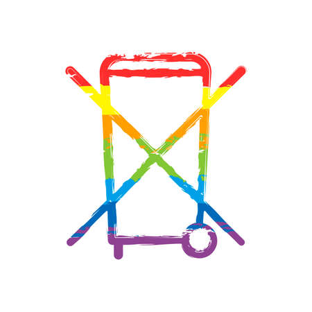 No trash bin, crossed litter. Linear icon with thin outline. Drawing sign with LGBT style, seven colors of rainbow (red, orange, yellow, green, blue, indigo, violet