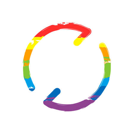 Simple arrows, update, reload. Navigation icon. Linear symbol with thin line. One line style. Drawing sign with LGBT style, seven colors of rainbow (red, orange, yellow, green, blue, indigo, violet
