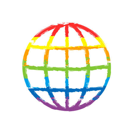 Simple globe icon. Linear, thin outline. Drawing sign with LGBT style, seven colors of rainbow (red, orange, yellow, green, blue, indigo, violet