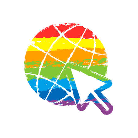 Globe and arrow icon. Drawing sign with LGBT style, seven colors of rainbow (red, orange, yellow, green, blue, indigo, violet Фото со стока - 112221688