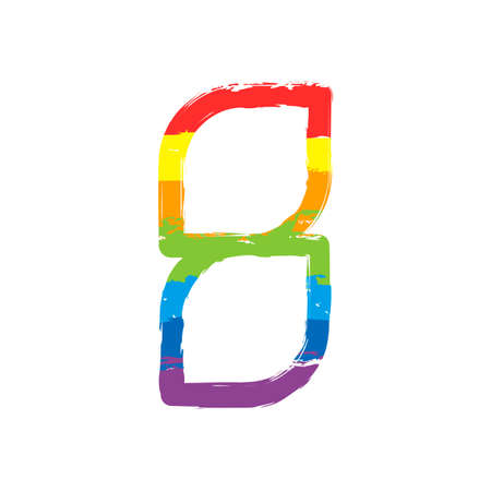 Number 8, numeral, eighth. Drawing sign with LGBT style, seven colors of rainbow (red, orange, yellow, green, blue, indigo, violet Illustration