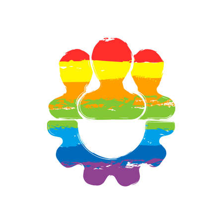 Team, technical support, few person and gear. Drawing sign with LGBT style, seven colors of rainbow (red, orange, yellow, green, blue, indigo, violet