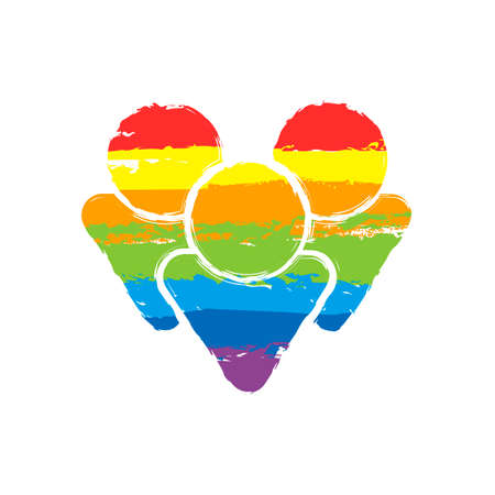 Team group icon. Drawing sign with LGBT style, seven colors of rainbow (red, orange, yellow, green, blue, indigo, violet