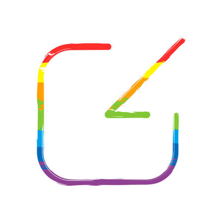 Share, login or download. Diagonal arrow into square. Drawing sign with LGBT style, seven colors of rainbow (red, orange, yellow, green, blue, indigo, violet Ilustrace
